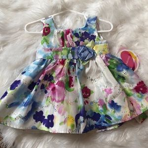 NWT YoungLand floral sequin dress sz 12 months